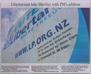 Libertarianz Electoral Finance Act - Bryce Edwards