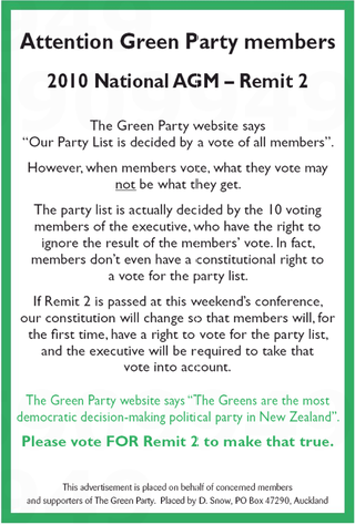 Green Party advertisement list - Bryce Edwards