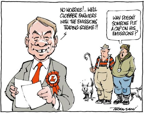 No worries!... We'll clobber farmers with the emissions trading scheme!! NZ Politics Daily Bryce Edwards University of Otago liberation blog www.liberation.org.nz