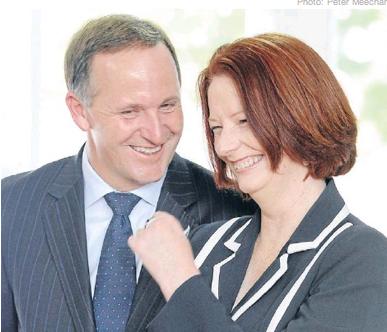 John Key and Julia Gillard NZ Politics Daily Bryce Edwards University of Otago liberation blog www.liberation.org.nz