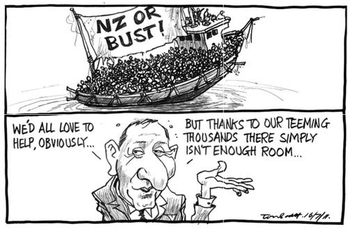 John Key refugees NZ Politics Daily - Bryce Edwards Otago University liberation blog - www.liberation.org.nz