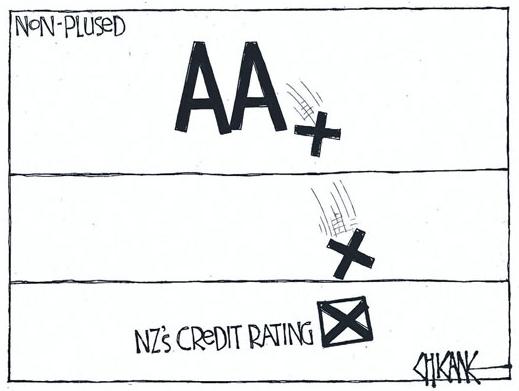 Economy downgrade credit NZ Politics Daily - Bryce Edwards Otago University liberation blog - www.liberation.org.nz