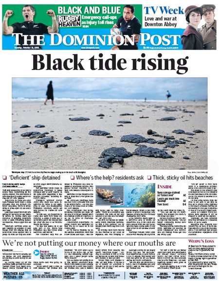 Rena disaster oil spill NZ Politics Daily - Bryce Edwards Otago University liberation blog - www.liberation.org.nz