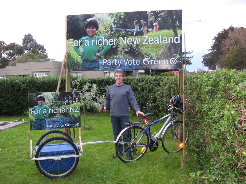 Green election billboards NZ Politics Daily - Bryce Edwards Otago University liberation blog - www.liberation.org.nz
