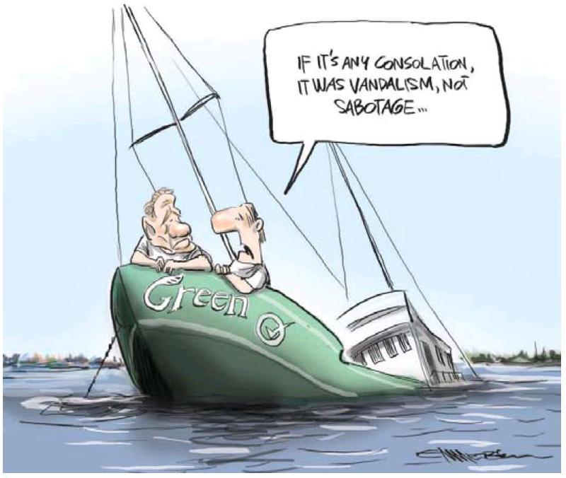 Greens vandalism billboards NZ Politics Daily - Bryce Edwards Otago University liberation blog - www.liberation.org.nz