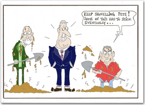 Flinging Poo, a cartoon by John Black NZ Politics Daily - Bryce Edwards Otago University liberation blog - www.liberation.org.nz