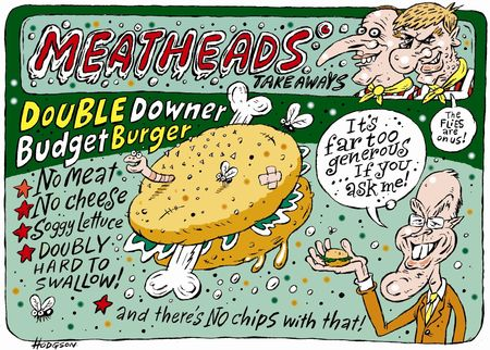 Double-downer-budget-burger NZ Politics Daily - Bryce Edwards Otago University liberation blog - www.liberation.org.nz
