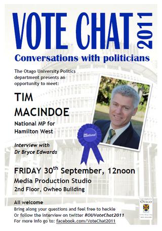 Tim Macindoe Vote Chat NZ Politics Daily - Bryce Edwards Otago University liberation blog - www.liberation.org.nz