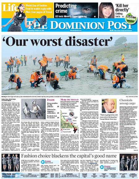 Rena our worst disaster NZ Politics Daily - Bryce Edwards Otago University liberation blog - www.liberation.org.nz