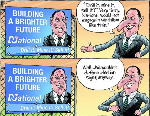 Billboard national party greens NZ Politics Daily - Bryce Edwards Otago University liberation blog - www.liberation.org.nz
