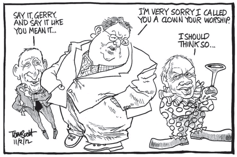 1 Christchurch Gerry Brownlee Bob Parker clown NZ Politics Daily - Bryce Edwards Otago University liberation blog - www.liberation.org.nz