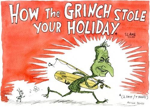 6 slane grinch stole holiday NZ Politics Daily - Bryce Edwards Otago University liberation blog - www.liberation.org.nz