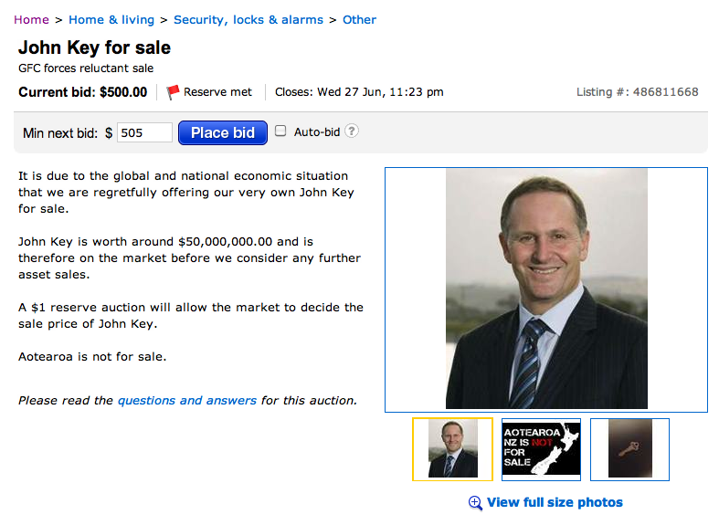 7 john key for sale trade me NZ Politics Daily - Bryce Edwards Otago University liberation blog - www.liberation.org.nz
