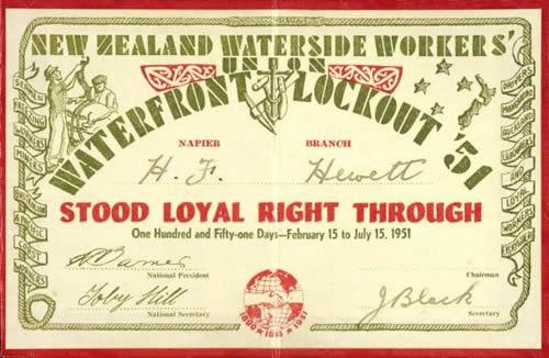 Watersiders' loyalty card, 1951 NZ Politics Daily - Bryce Edwards Otago University liberation blog - www.liberation.org.nz