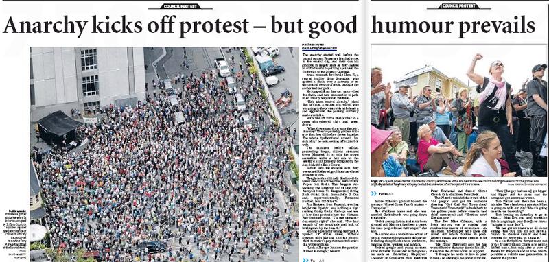 Christchurch city council protest NZ Politics Daily - Bryce Edwards Otago University liberation blog - www.liberation.org.nz
