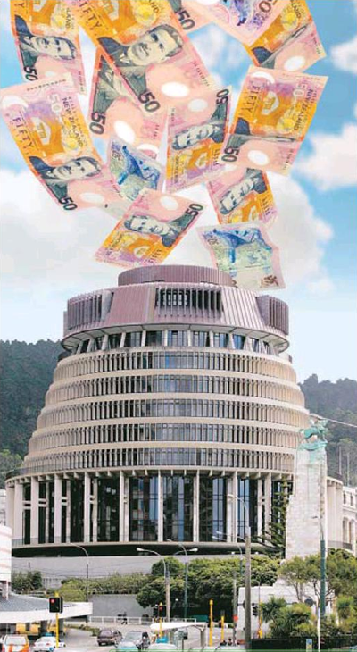 7 money beehive government cash NZ Politics Daily - Bryce Edwards Otago University liberation blog - www.liberation.org.nz