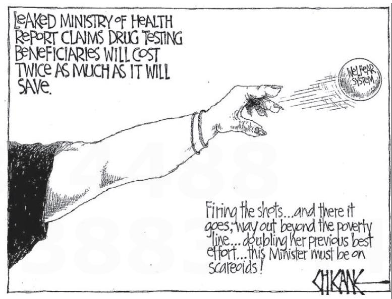 1 drug testing beneficiares NZ Politics Daily - Bryce Edwards Otago University liberation blog - www.liberation.org.nz