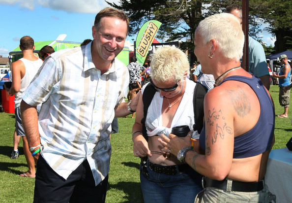 A 34 NZ Politics Daily - Bryce Edwards Otago University liberation blog - www.liberation.org.nz  John Key New Zealand Prime Minister John Key talks with gay gatherers at Big Gay Out on February 13, 2011 in Auckland, New Zealand