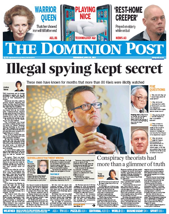 6 Dominion Post 10 April 2013 GCSB frontpage