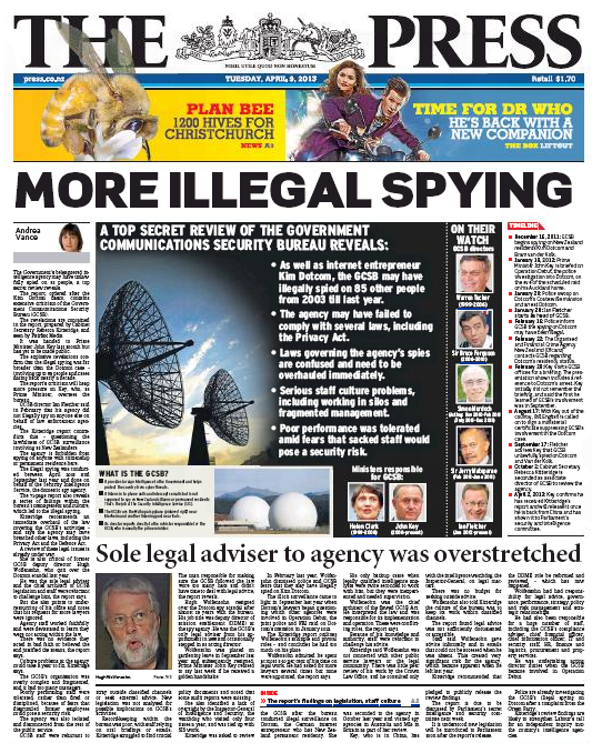 10 The Press 9 April 2013 frontpage gcsb