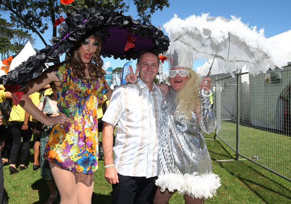 A 31 NZ Politics Daily - Bryce Edwards Otago University liberation blog - www.liberation.org.nz   with New Zealand Prime Minister John Key at Big Gay Out on February 13, 2011 in Auckland, New Zealand