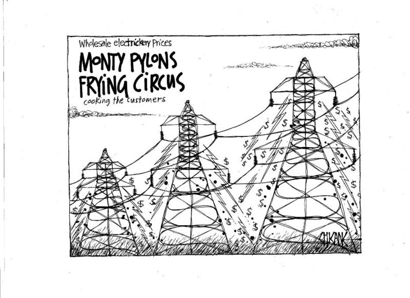 Monty Pylons Frying Circus - wholesale electricity prices cooking the customers. 22 December 2010