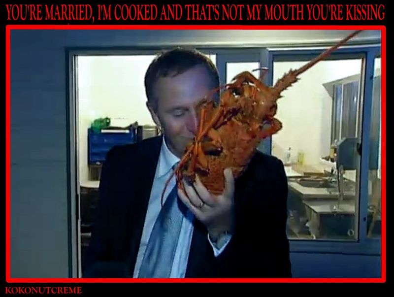 1 crayfish john key kiss NZ Politics Daily - Bryce Edwards Otago University liberation blog - www.liberation.org.nz