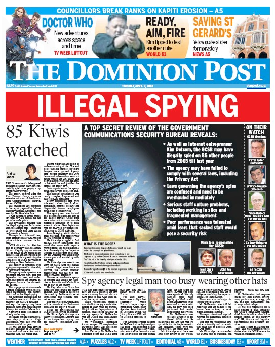 5 Dominion Post 11 April 2013 GCSB frontpage