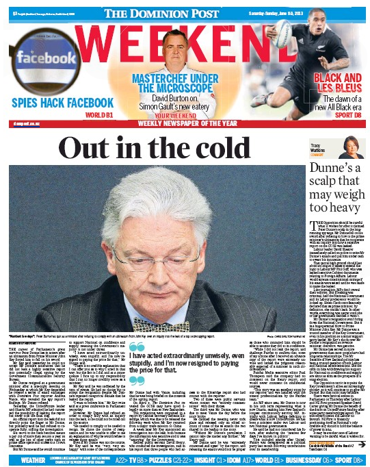 B Dominion Post 8 June 2013 Peter Dunne frontpage