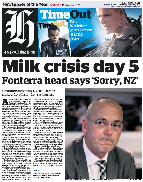 NZ Herald 8 August 2013 Fonterra frontpage