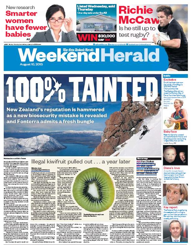 NZ Herald 10 August 2013 Fonterra 100% pure