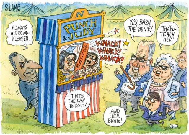 Chris Slane - Listener 18 July 2013 welfare reform POLITICS-Cartoon-Paula-Bennett-Beneficiary-Slane