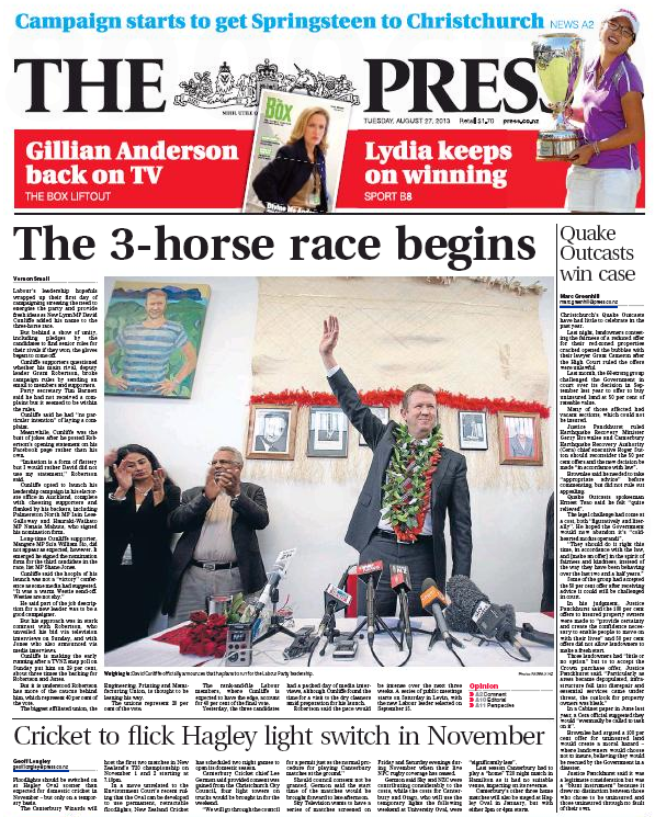 The Press 27 August 2013 Frontpage