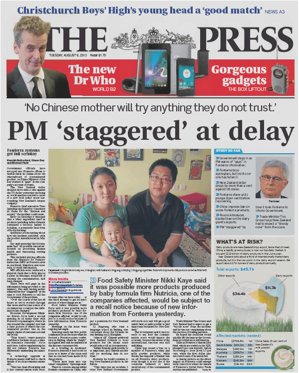 The Press 6 August 2013 Fonterra frontpage