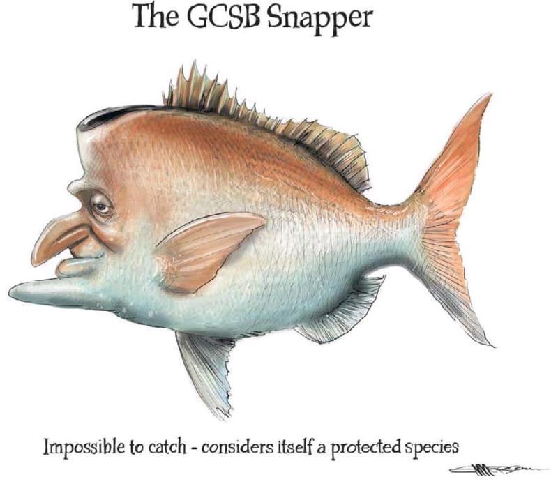 Emmerson - NZ Herald 14 August 2013 John Key snapper GCSB