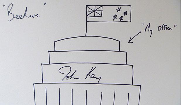 John Key artwork beehive