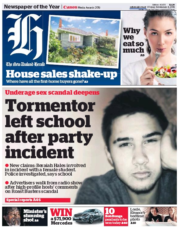 NZ Herald 8 November 2013 frontpage