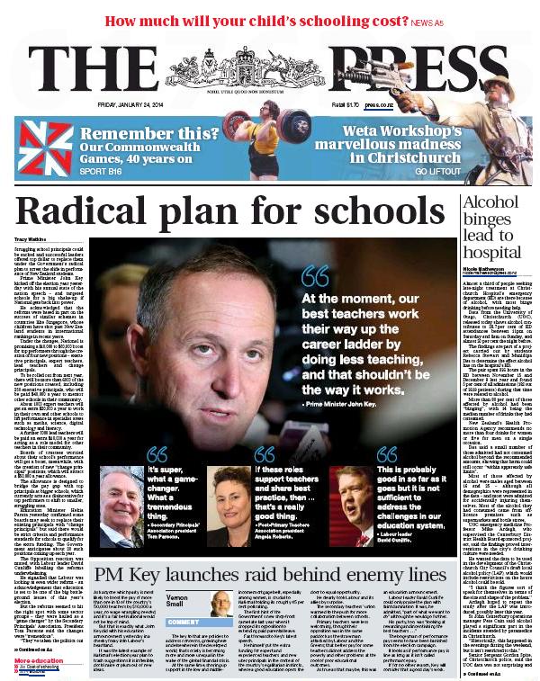 The Press 24 January 2014 education john key frontpage