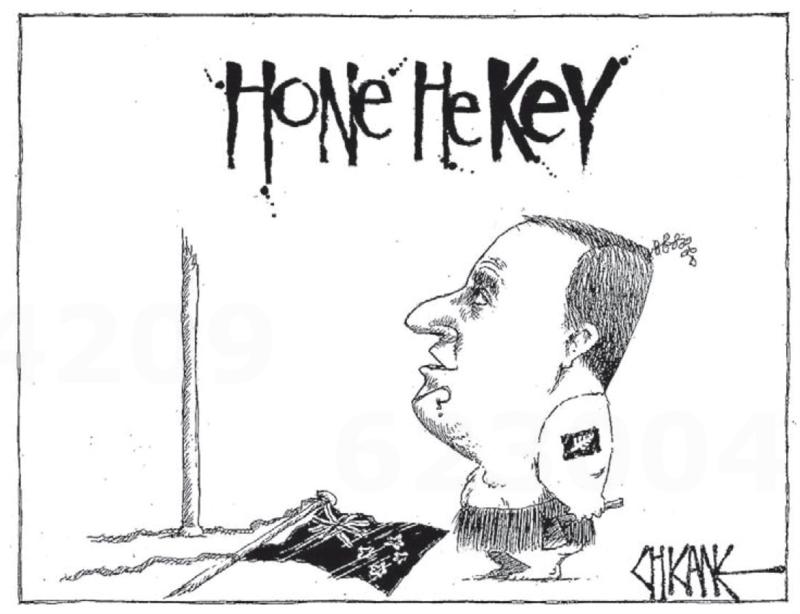Chicane - Southland Times 7 February 2014 Hone John Key flag