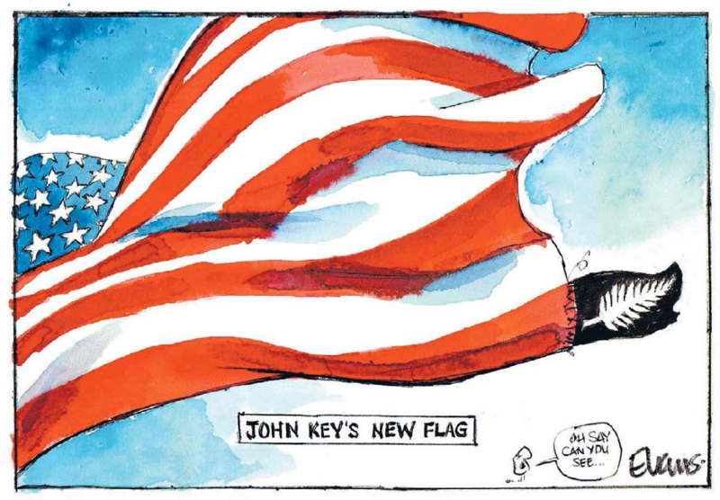 Evans - The Press 17 October 2014 flag US john key