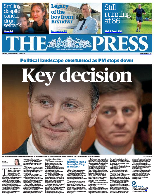 The Press - 6 December 2016 John Key frontpage