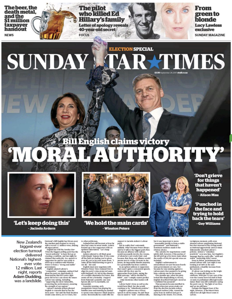 Sunday Star Times - 24 September 2017 post-election frontpage