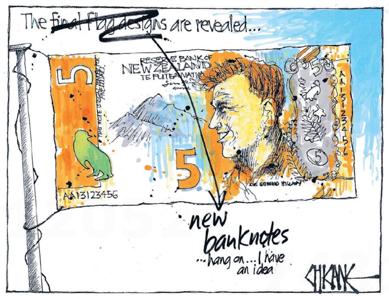 Chicane - Southland Times 2 September 2014 flag dollar notes