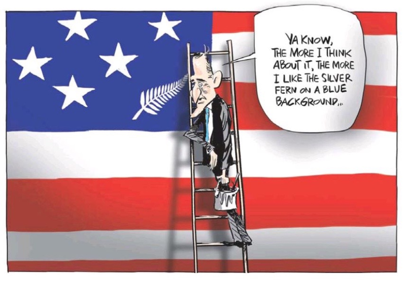 Emmerson - NZ Herald 1 February 2014 flag John Key