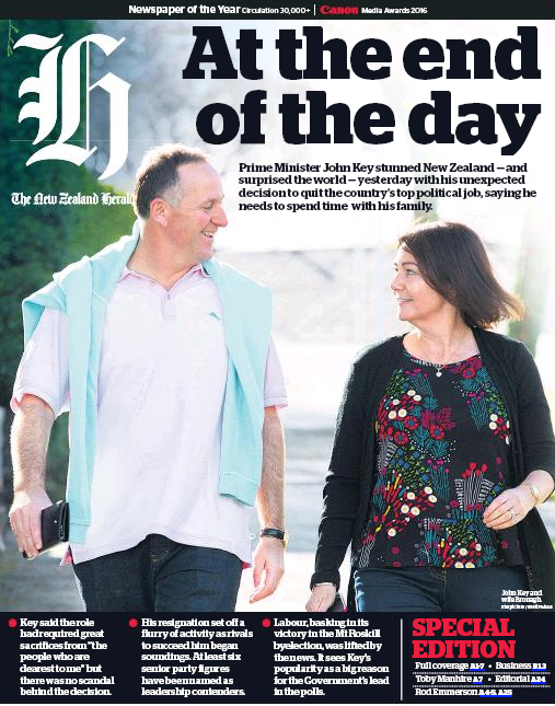 NZ Herald 6 December 2016 John Key frontpage