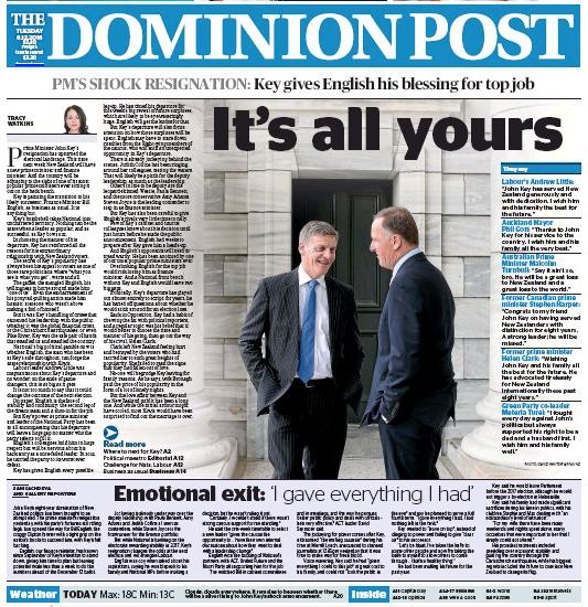 Dominion Post 6 December 2016 John Key frontpage