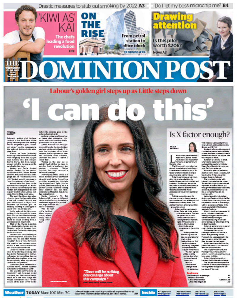 Dominion Post 2 August 2017 Jacinda Ardern Labour frontpage
