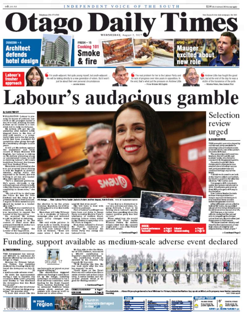 ODT - 2 August 2017 Jacinda Ardern Labour frontpage