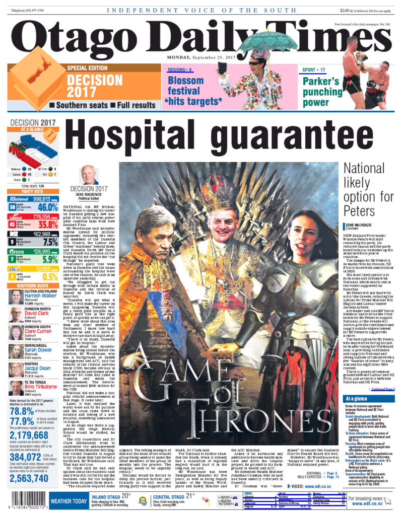 A game of thrones - ODT 25 September 2017 election front page