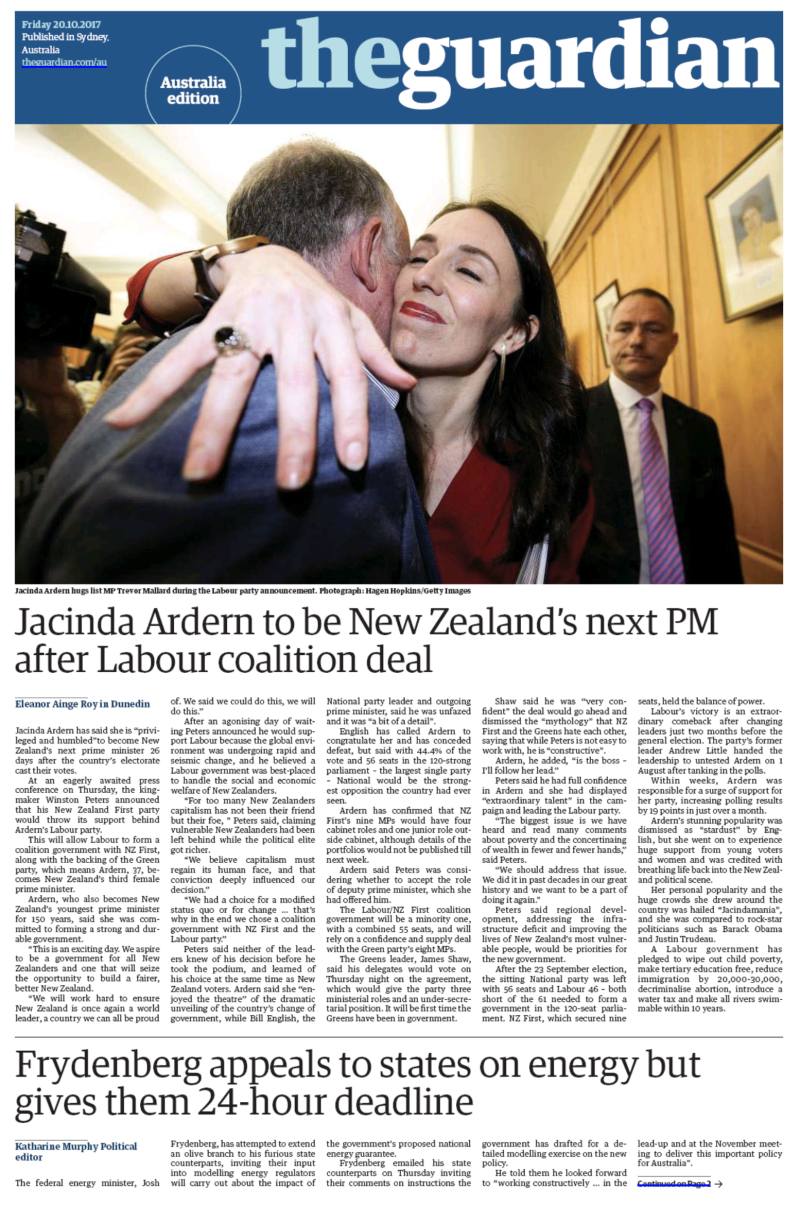 Australian Guardian 20 October 2017 election Labour